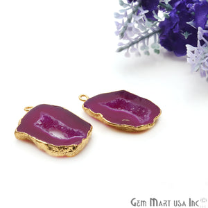 Agate Slice 30x18mm Organic Gold Electroplated Gemstone Earring Connector 1 Pair - GemMartUSA