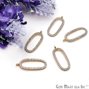 Oval Shape Charm Diamond CZ Pave Gold Plated Charm for Bracelet Pendants & Necklace (CHCZ-40116) - GemMartUSA
