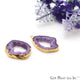 Agate Slice 27x20mm Organic Gold Electroplated Gemstone Earring Connector 1 Pair - GemMartUSA