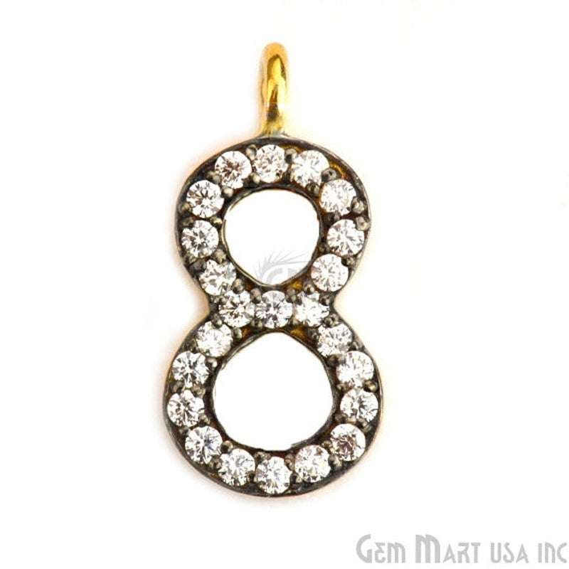 '8' Numbering CZ Pave Gold Vermeil Charm for Bracelet & Pendants