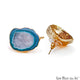 DIY Agate Slice Geode Druzy 31x20mm Gold Electroplated Loop Connector Studs Earrings - GemMartUSA