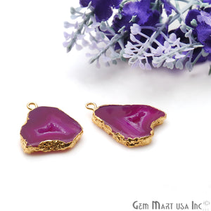 Agate Slice 21x18mm Organic Gold Electroplated Gemstone Earring Connector 1 Pair - GemMartUSA