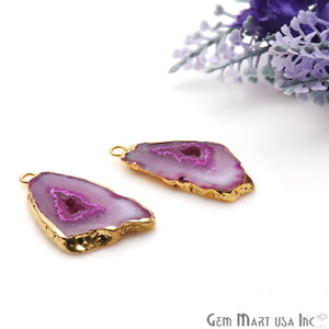 Agate Slice 32x18mm Organic  Gold Electroplated Gemstone Earring Connector 1 Pair