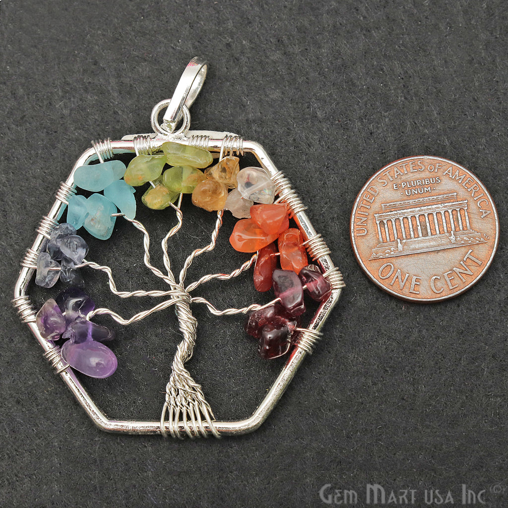 Tree of Life Multi Color Silver Wire Wrapped 42mm Gemstone Healing Pendant