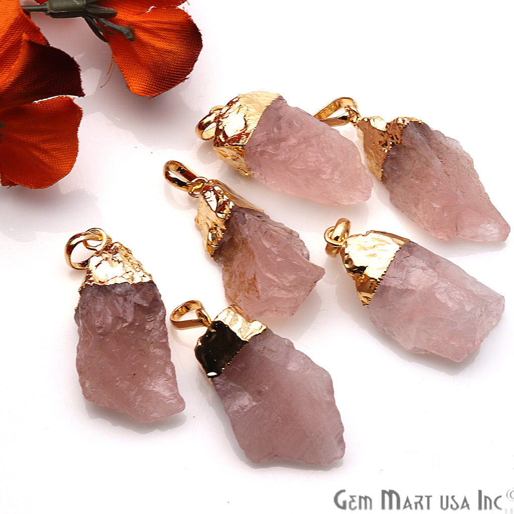 DIY Rough Rose Quartz Gemstone 37x17mm Gold Edge Necklace Pendant