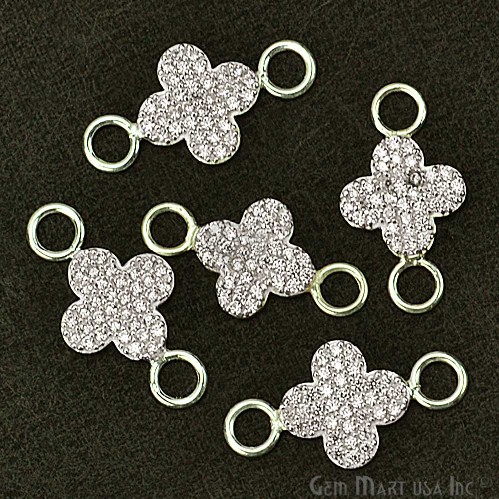 Cubic Zircon Pave 'Clover' Shape Silver Charm for Bracelet Pendants & Necklace
