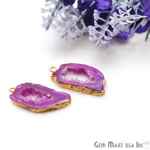 Agate Slice 24x13mm Organic Gold Electroplated Gemstone Earring Connector 1 Pair - GemMartUSA
