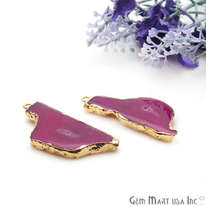Agate Slice 43x18mm Organic Gold Electroplated Gemstone Earring Connector 1 Pair - GemMartUSA