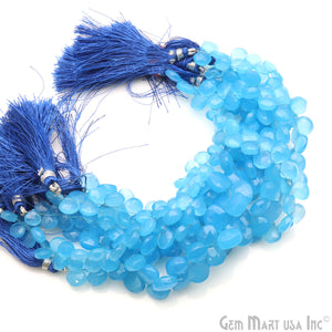 "Sky Blue Chalcedony 7-10mm Heart Faceted Beads Strands 8"" Inch"