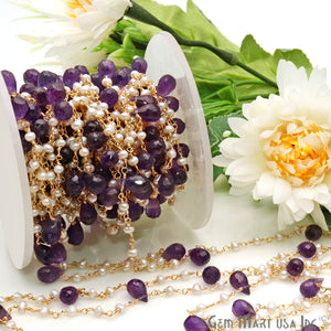 Pearl And Amethyst Faceted Beads Gold Wire Wrapped Beads Rosary Chain - GemMartUSA