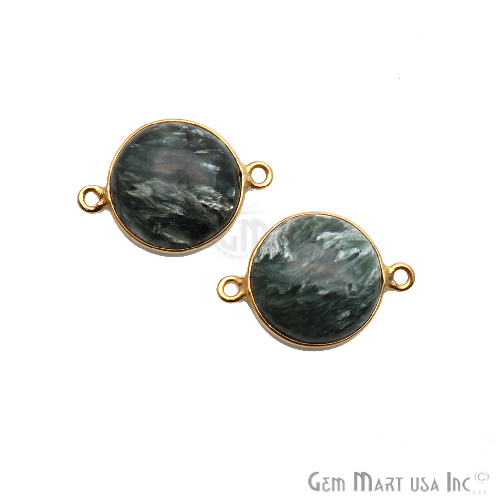 Gray Larimar Cabochon Gemstone 21x15mm Gold Plated Connector
