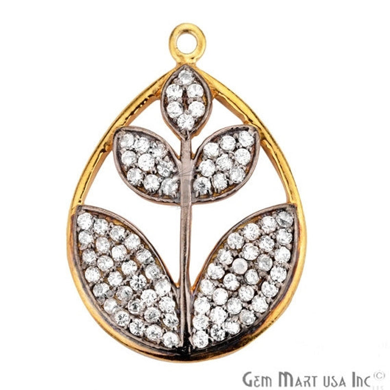 Cubic Zircon Pave 'Leaf' Gold Vermeil Charm for Bracelet Pendants & Necklace