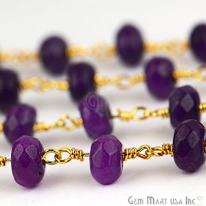 Amethyst Jade Beads Gold Plated Wire Wrapped Rosary Chain