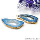 Agate Slice 25x58mm Organic Gold Electroplated Gemstone Earring Connector 1 Pair - GemMartUSA