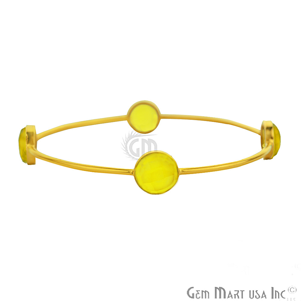Yellow Chalcedony 10mm Round Shape Gold Plated Stacking Bangle Bracelet