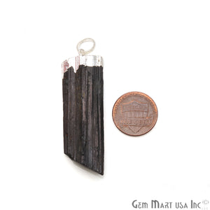 Black Tourmaline 53x16mm Free Form Silver Electroplated Single Bail Gemstone Connector - GemMartUSA
