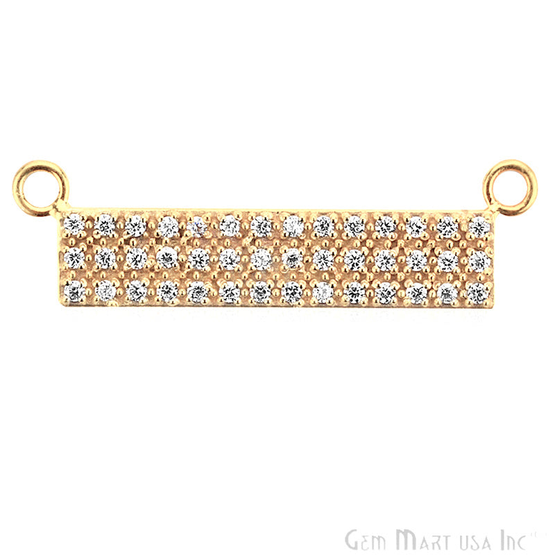 Cubic Zircon Pave 'Bar' Gold Vermeil Charm for Bracelet Pendants & Necklace