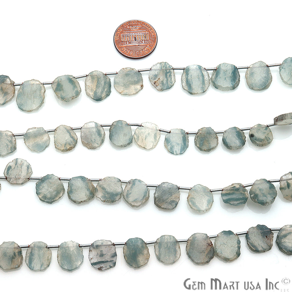 Natural Rough Blue Sulemani Gemstone 14x10mm Beaded Handmade Silver Wire Rondelle