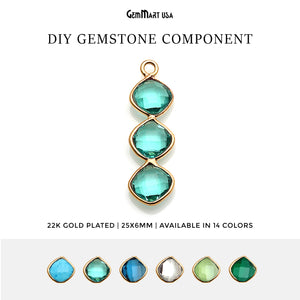 DIY Gemstone 25x6mm Gold Plated Chandelier Finding Component