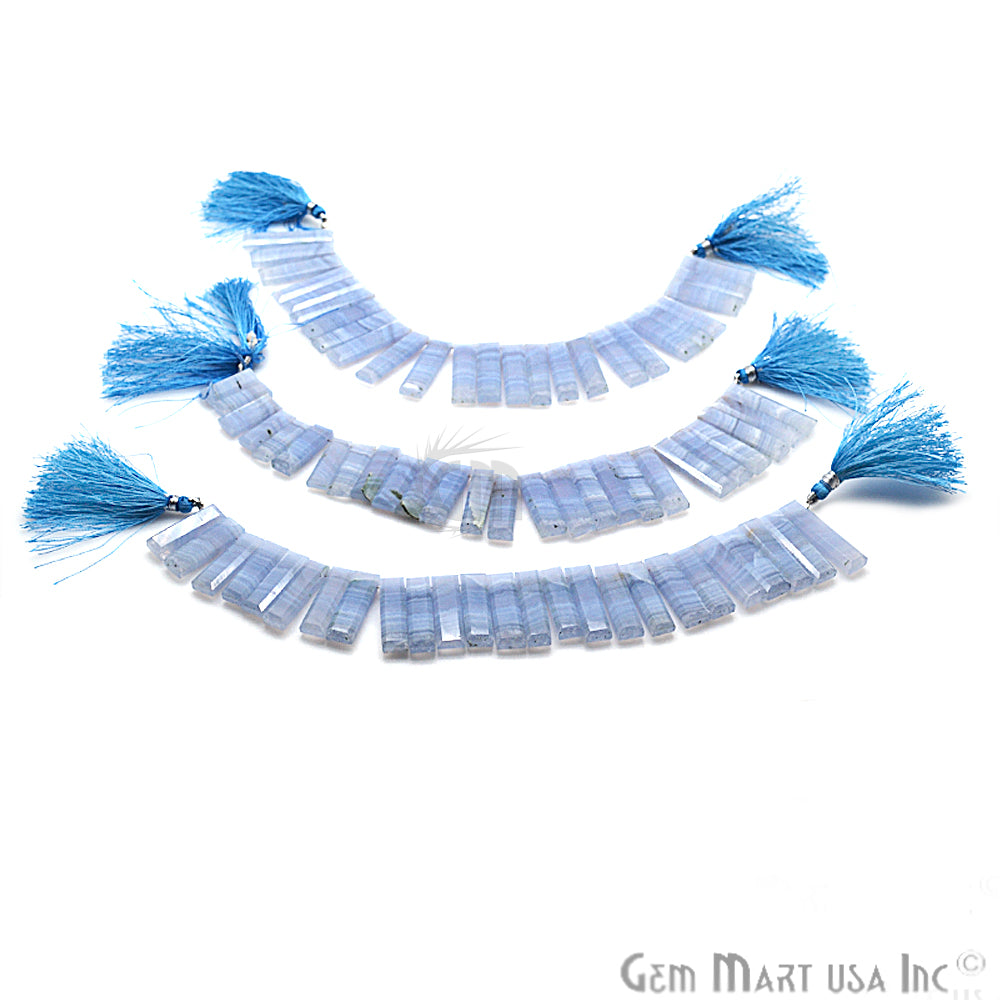 Natural Blue Lace Agate Gemstone 24x7mm Beaded Handmade Silver Wire Rondelle