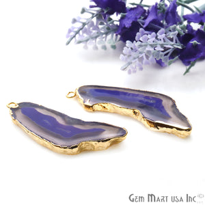 Agate Slice 46x14mm Organic Gold Electroplated Gemstone Earring Connector 1 Pair - GemMartUSA