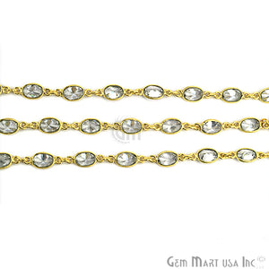 White Zircon 6x4mm Oval Bezel Gold Continuous Connector Chain - GemMartUSA