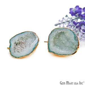 DIY Agate Slice Geode Druzy 24x32mm Gold Electroplated Loop Connector Studs Earrings - GemMartUSA