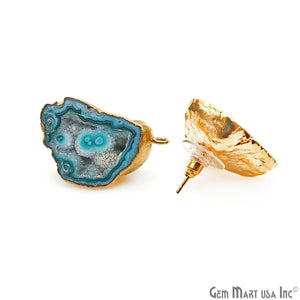 DIY Agate Slice Geode Druzy 18x31mm Gold Electroplated Loop Connector Studs Earrings - GemMartUSA