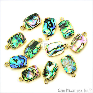 Abalone 10x14mm Octagon Shape Gold Electroplated Single Bail Gemstone Connector