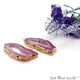 Agate Slice 41x18mm Organic Gold Electroplated Gemstone Earring Connector 1 Pair - GemMartUSA