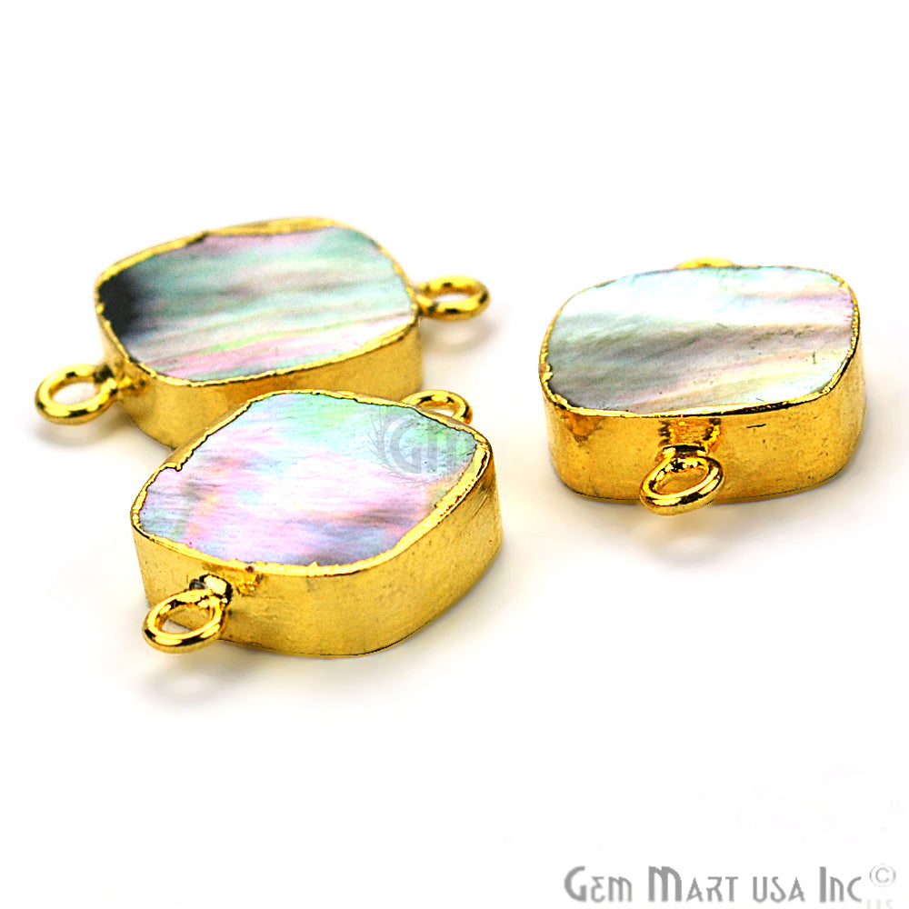 Abalone 14mm Square Shape Gold Electroplated Double Bail Gemstone Connector