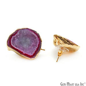 DIY Agate Slice Geode Druzy 23x28mm Gold Electroplated Loop Connector Studs Earrings - GemMartUSA