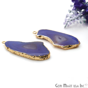 Agate Slice 45x22mm Organic Gold Electroplated Gemstone Earring Connector 1 Pair - GemMartUSA