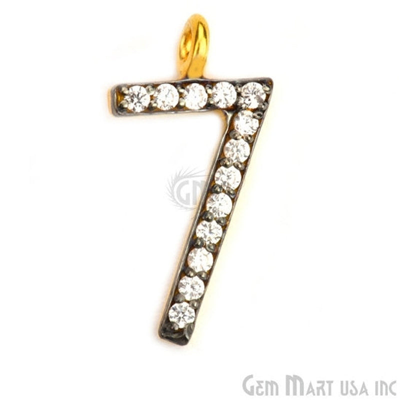 '7' Numbering CZ Pave Gold Vermeil Charm for Bracelet & Pendants