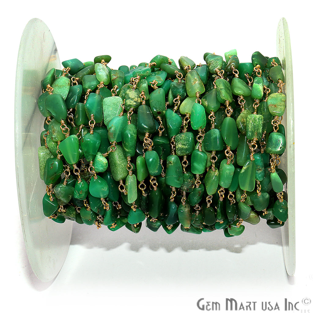 Chrysoprase Smooth Tumble Gold Wire Wrap Rough Bead Faceted Rosary Chain