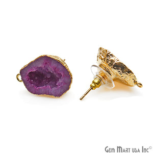 DIY Agate Slice Geode Druzy 15x23mm Gold Electroplated Loop Connector Studs Earrings - GemMartUSA