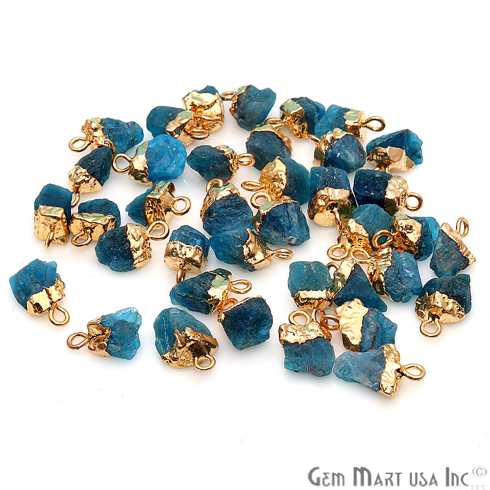 Rough Neon Apatite Gemstone 13x8mm Organic Shape Gold Edged Single Bail Connector Charm