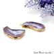 Agate Slice 28x16mm Organic  Gold Electroplated Gemstone Earring Connector 1 Pair - GemMartUSA