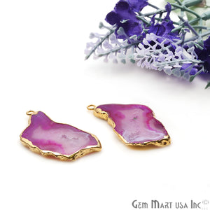 Agate Slice 38x18mm Organic Gold Electroplated Gemstone Earring Connector 1 Pair - GemMartUSA