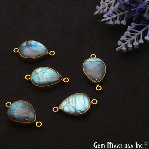 Labradorite Cabochon 27x15mm Pears Gold Electrolated Double Bail Gemstone Connector - GemMartUSA