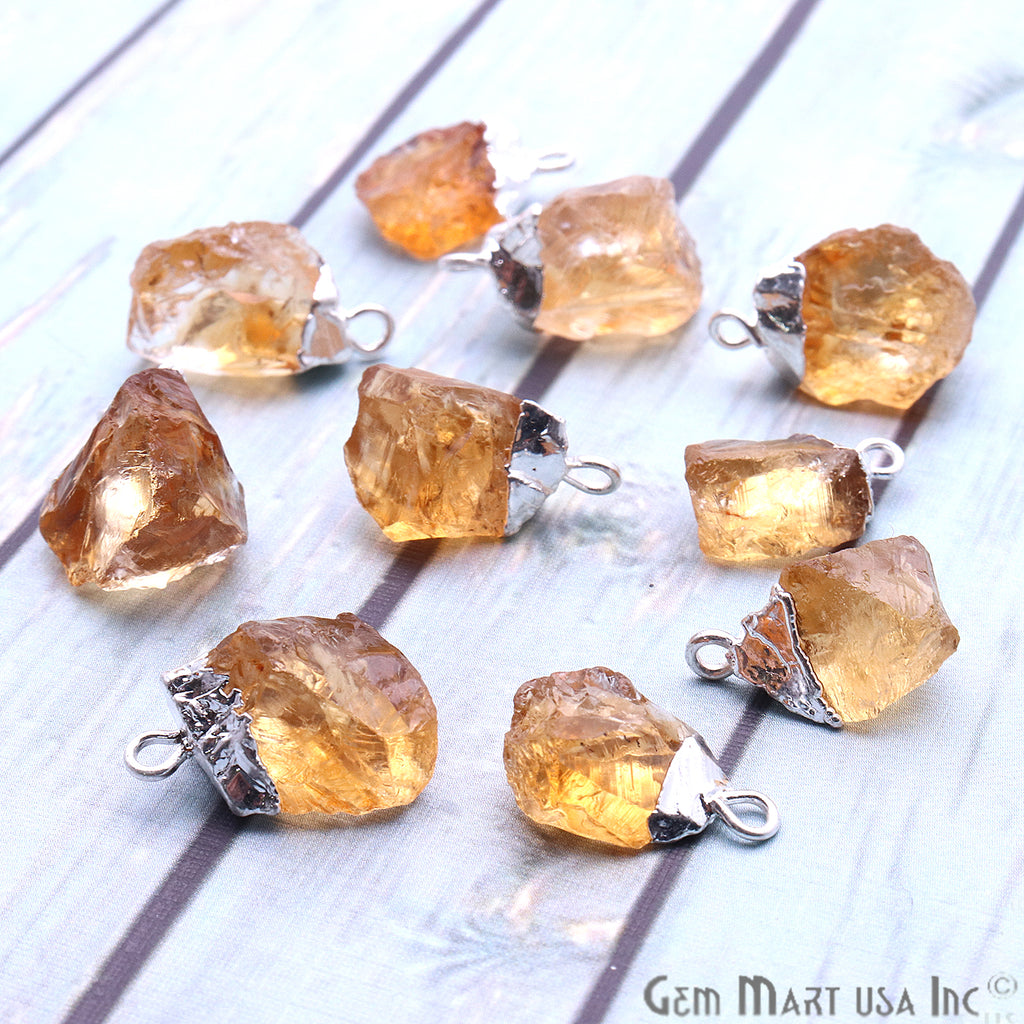 Rough Citrine Gemstone 16x9mm Silver Edged Bracelets Charm Connectors