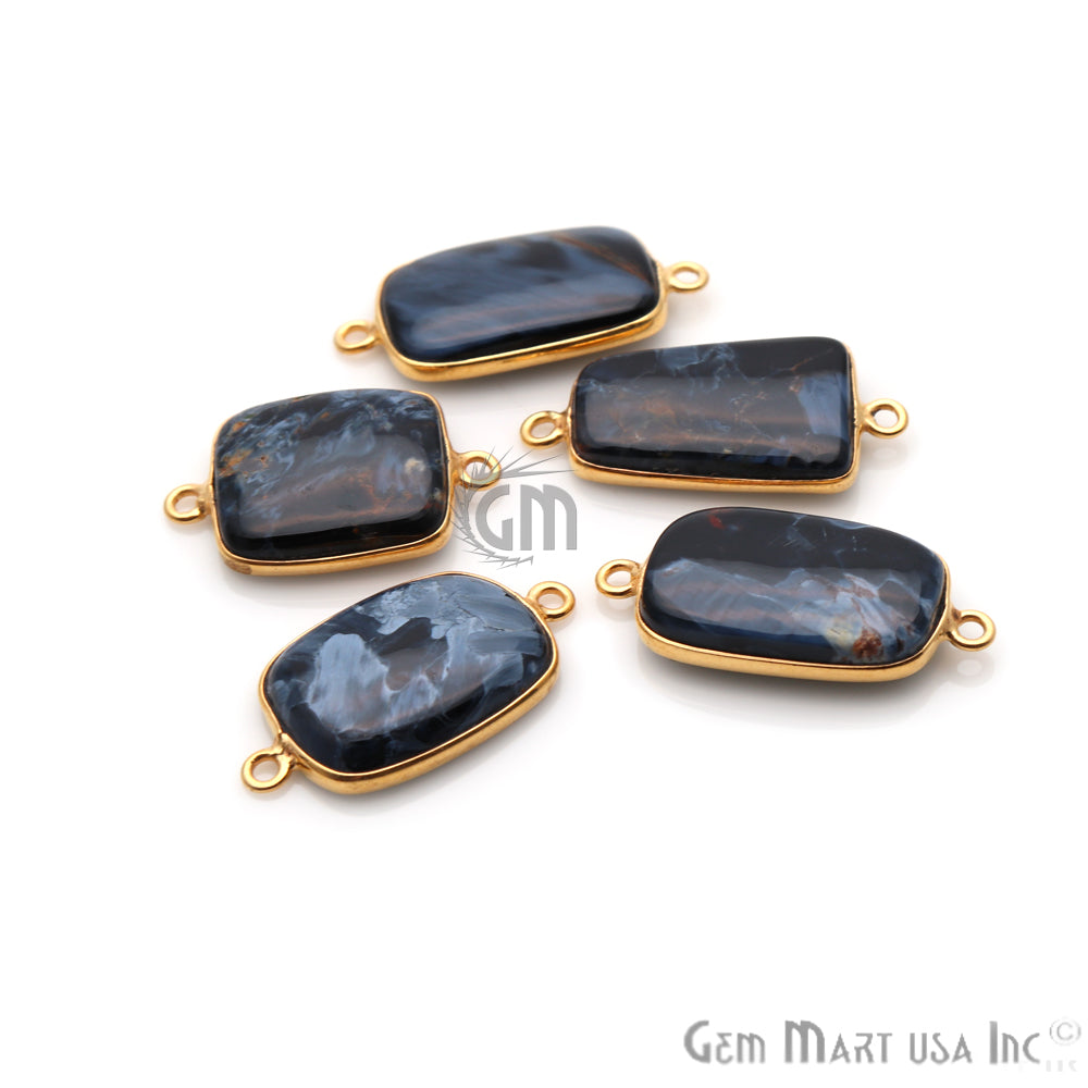Pietersite Cabochon 13x25mm Gold Plated Double Bail Gemstone Connector