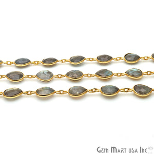 Labradorite 12mm Heart Bezel Link Gold Plated Continuous Connector Chain - GemMartUSA
