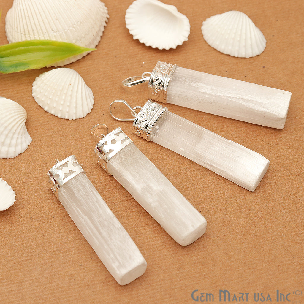 Selenite Flat Silver Plated 42x10mm Healing Gemstone Pendant