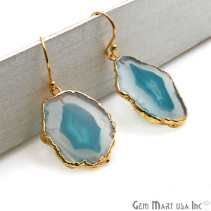 Agate Slice 30x22mm Organic Gold Electroplated Gemstone Earring Connector 1 Pair - GemMartUSA