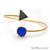 Blue Chalcedony & Green Druzy Gold Plated Adjustable Bangle Bracelet - GemMartUSA