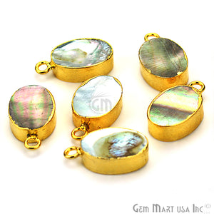 Abalone 10x14mm Oval Shape Gold Electroplated Single Bail Gemstone Connector - GemMartUSA