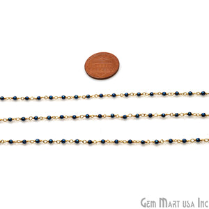 Metallic Blue Pyrite 2-2.5mm Tiny Beads Gold Plated Wire Wrapped Rosary Chain - GemMartUSA