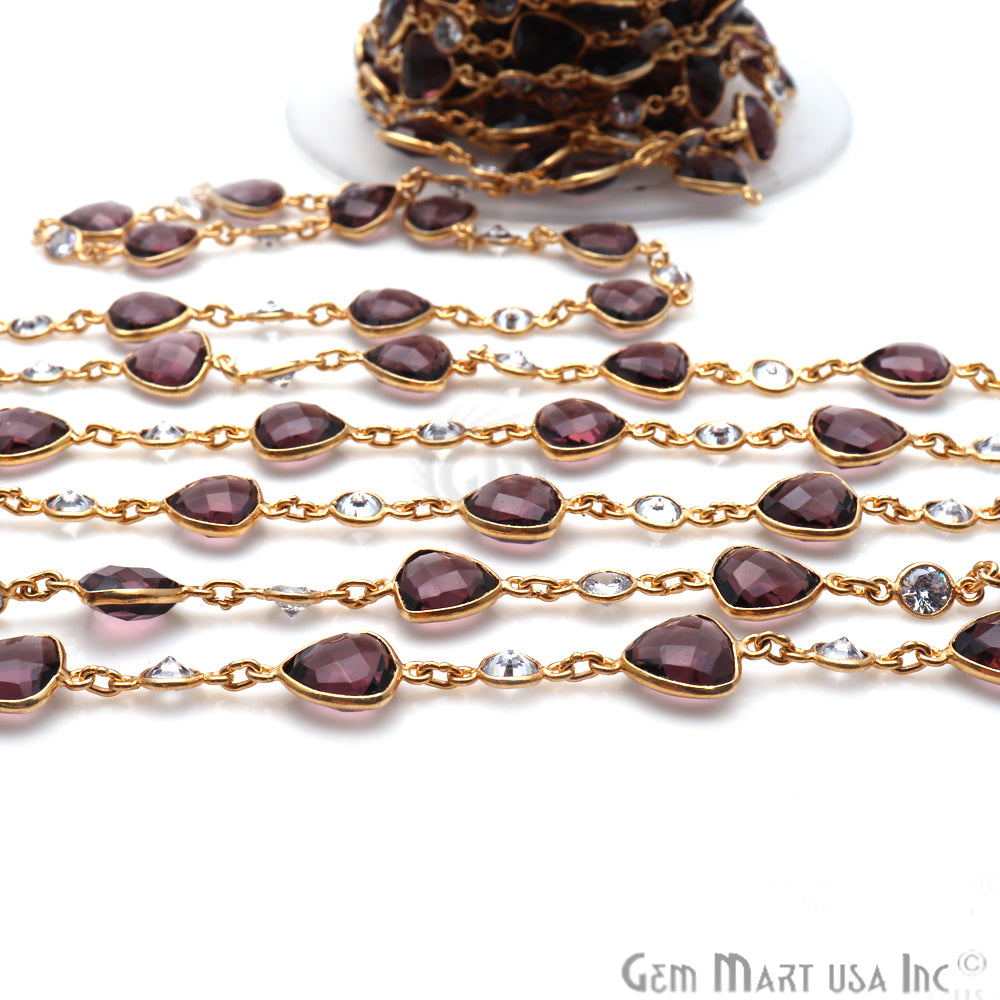 Amethyst With Crystal Gold Plated Bezel Link Continuous Connector Chain