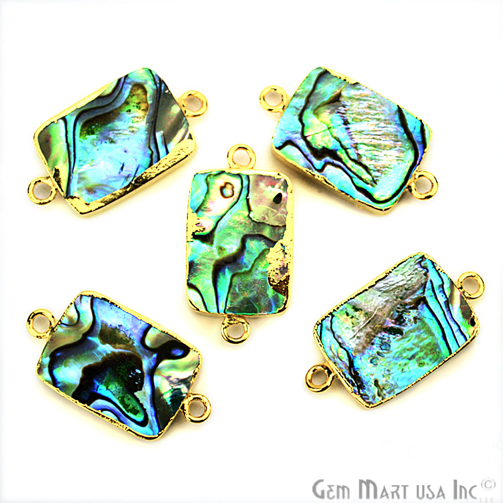 Abalone 13x18mm Octagon Shape Gold Electroplated Double Bail Gemstone Connector